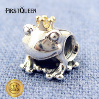 FirstQueen Silver And 14k Frog Prince Charm Bead Fit Bracelets DIY Charms Pendants Jewelry Making Fine