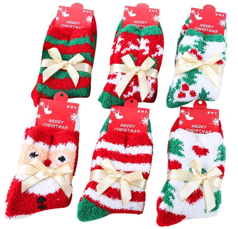 FunPa 6 Pairs Weihnachten Socken Für Frauen Plüsch Kurze Streifen ...