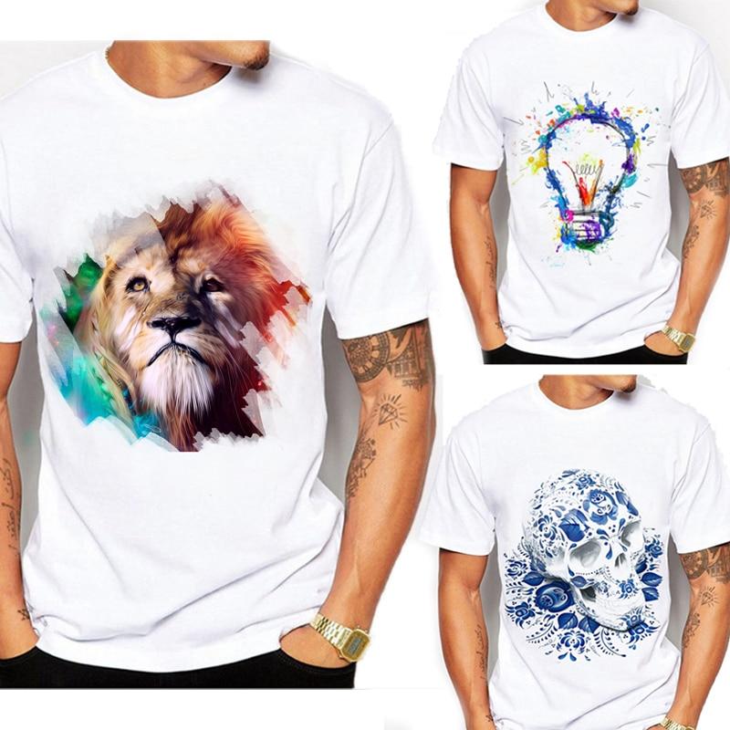 New arrival   t  -  shirt   Fashion skull lion Design   T     Shirt   Men's High Quality white   t  -  shirt   male Custom Printed Tops Tees