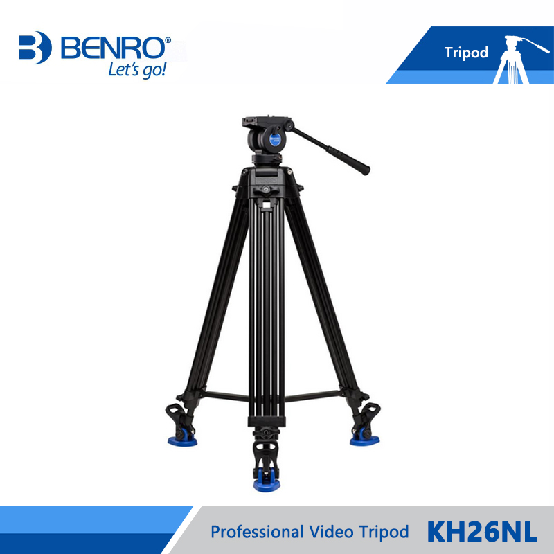 BENRO KH26NL KH-26NL Video Tripod Professional Aluminum Video Camera Tripod Hydraulic Head Max Loading 5KG Free Shipping benro aluminum tripod 3 8 super strong impact resistance horizontal axis camera tripod multifunctional alloy tripod ga169t