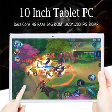2018 Newest 10 inch Android 7.0 Tablets PC 4GB RAM 64GB ROM Deca Core 4G LTE Dual Cameras 1920*1200 IPS 8.0MP WiFi GPS FM+GiFts
