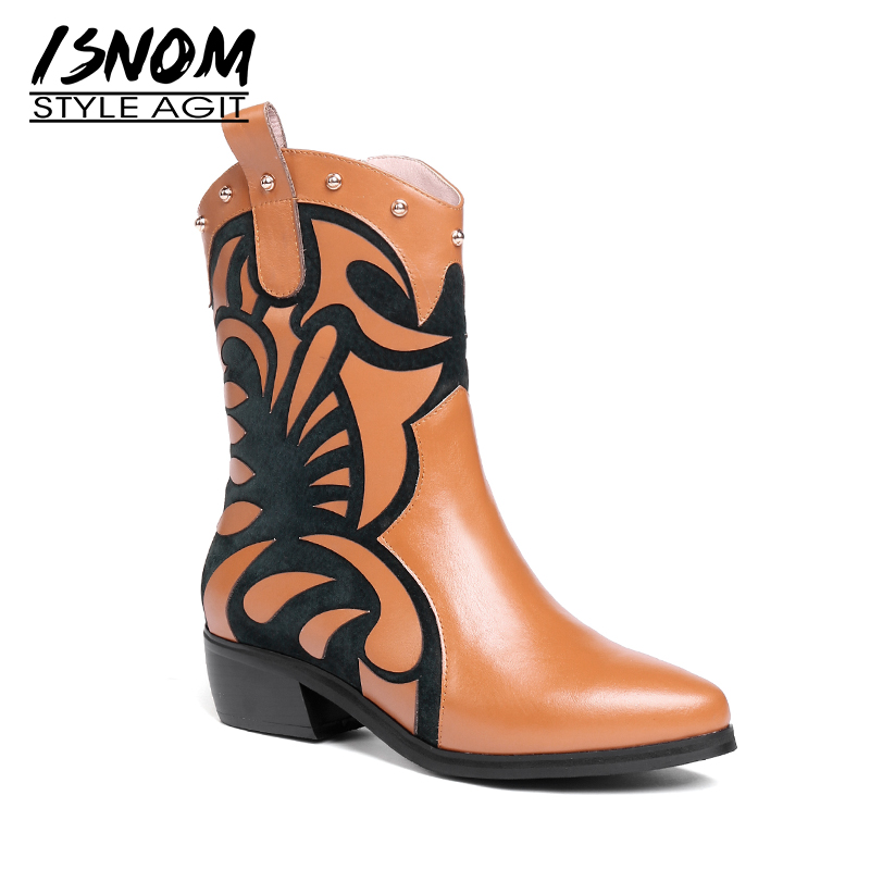 ISNOM Thick Heels Ankle Boots Women Pointed Toe Footwear Print Genuine Leather Boot Female Zip Stud Shoes Woman 2019 Spring NewISNOM Thick Heels Ankle Boots Women Pointed Toe Footwear Print Genuine Leather Boot Female Zip Stud Shoes Woman 2019 Spring New