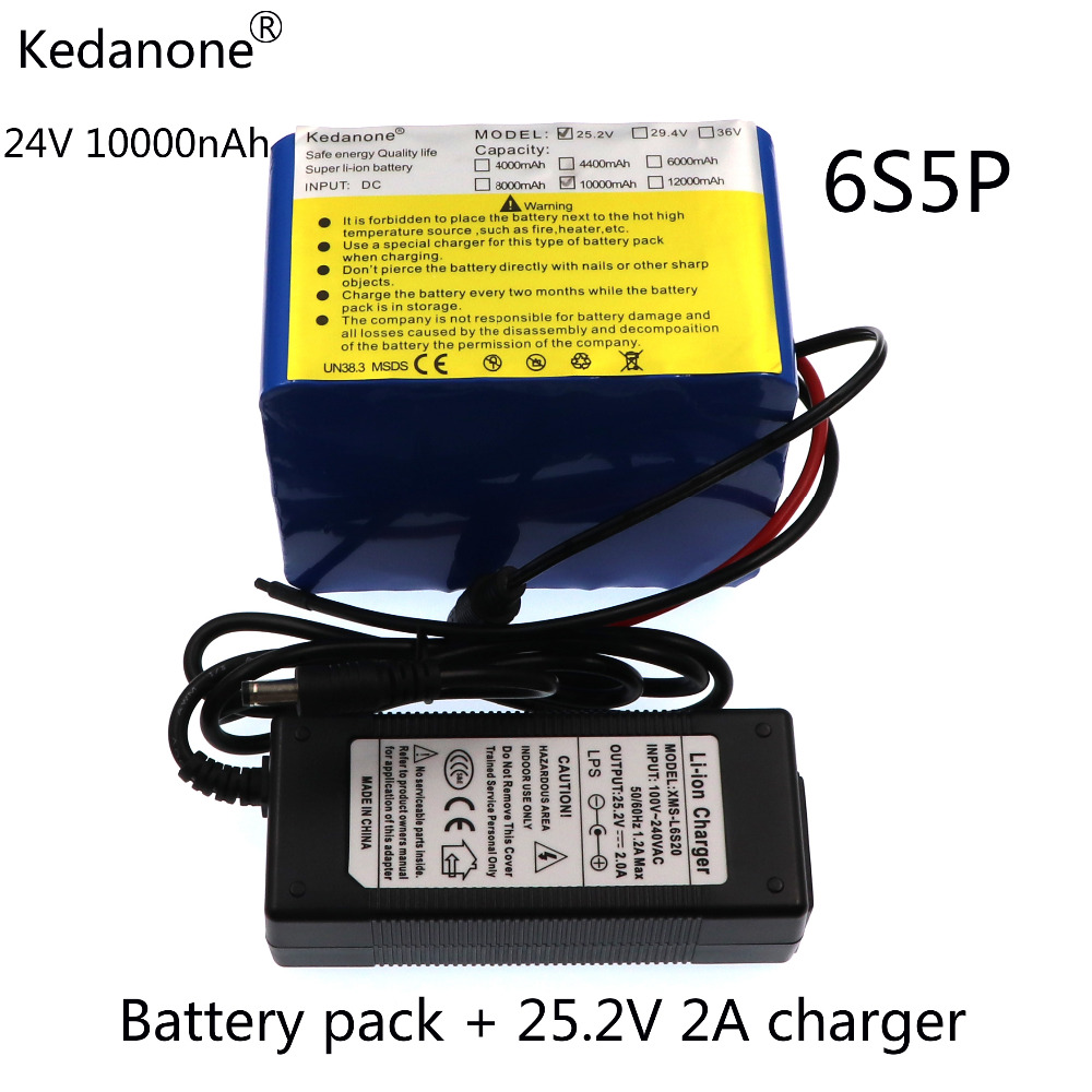 Kedanone Brand 24V 10Ah 6S5P battery pack lithium 350w e-bike li-ion 25.2V 10000mah lithium bms electric bike battery 250W+2A eu us no tax 24v 10ah battery pack lithium 24v 200w e bike li ion 24v lithium bms electric bike battery 24v 10ah 200w motor 2