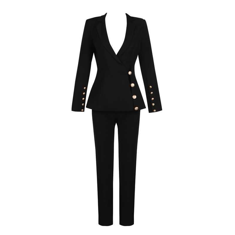 Beateen 女性の黒ディープ V ゴールドボタンブレザージャケットパンツスーツ長袖フォーマル特別な日のためパンツスーツセット女性