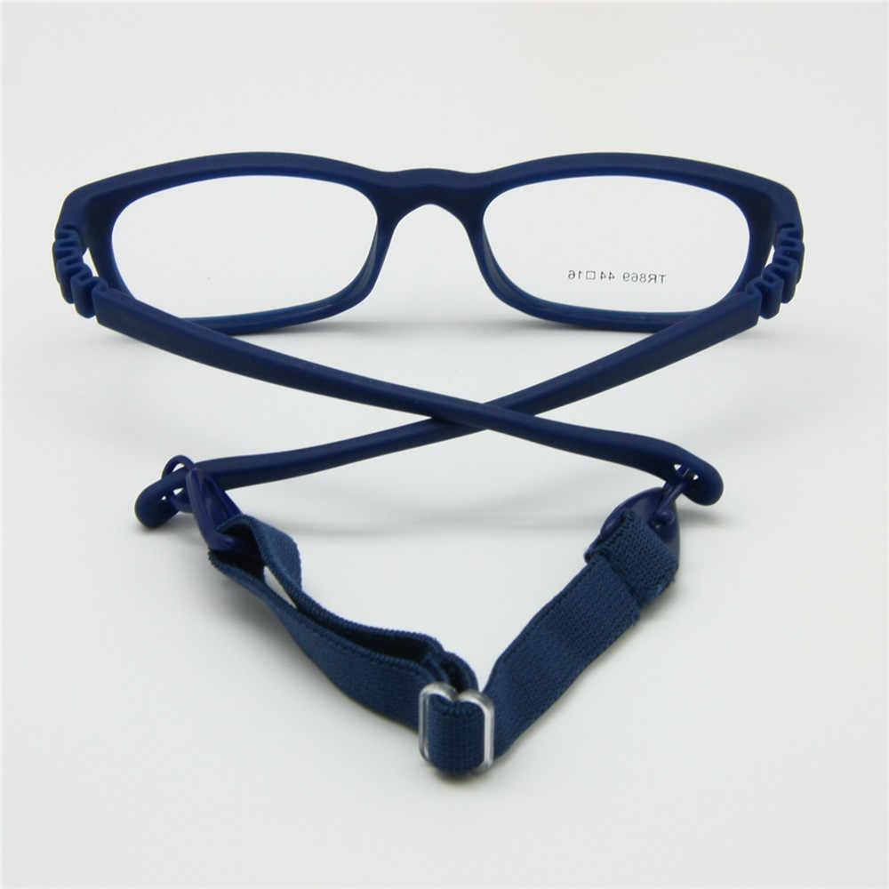 Enfants lunettes cadre avec sangle taille 44/16 une pièce sans vis 3-5Y, pliable optique enfants lunettes pour garçons et filles