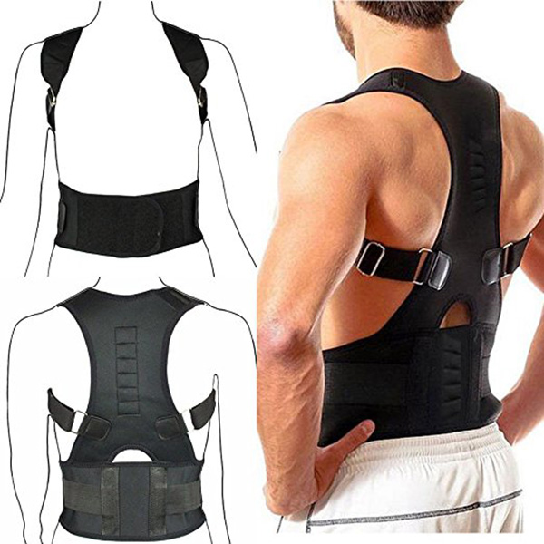Adjustable Posture Support Brace Magnet Therapy Straps Back Neck Corrector Spine Support Brace Dropshipping 2 pieces magnet posture back shoulder corrector support brace magnetic therapy belt therapy adjustable length free shipping
