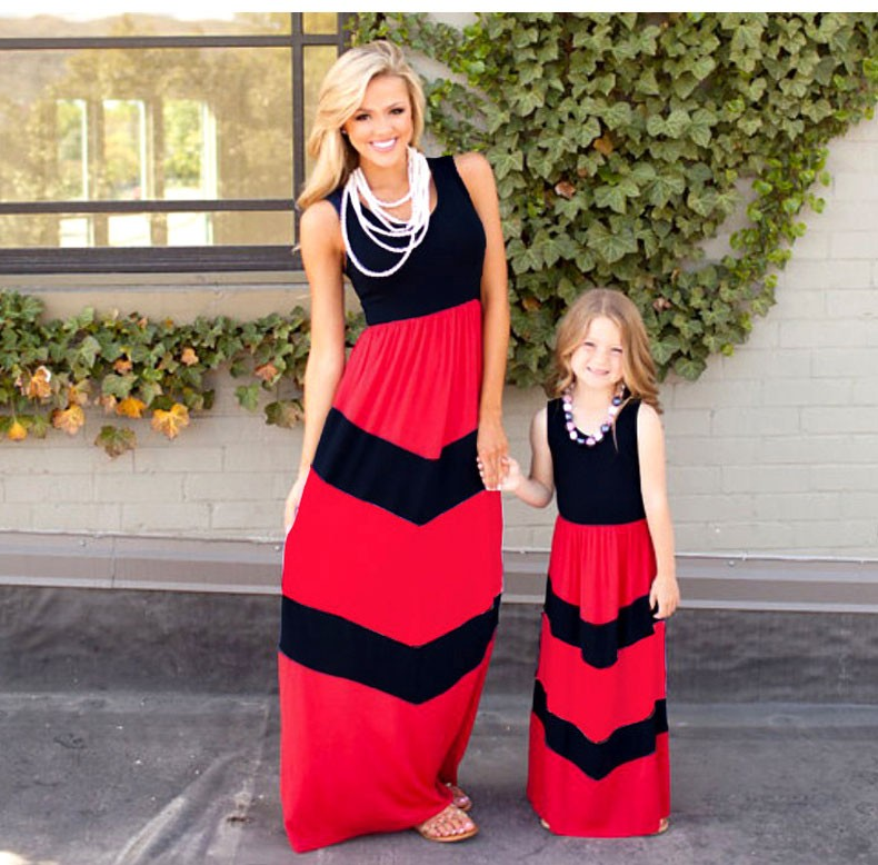 HTB1cyKEKFXXXXbOXFXXq6xXFXXX6 summer Mommy and me family matching mother daughter dresses clothes striped mom dress kids child outfits mum sister baby girl
