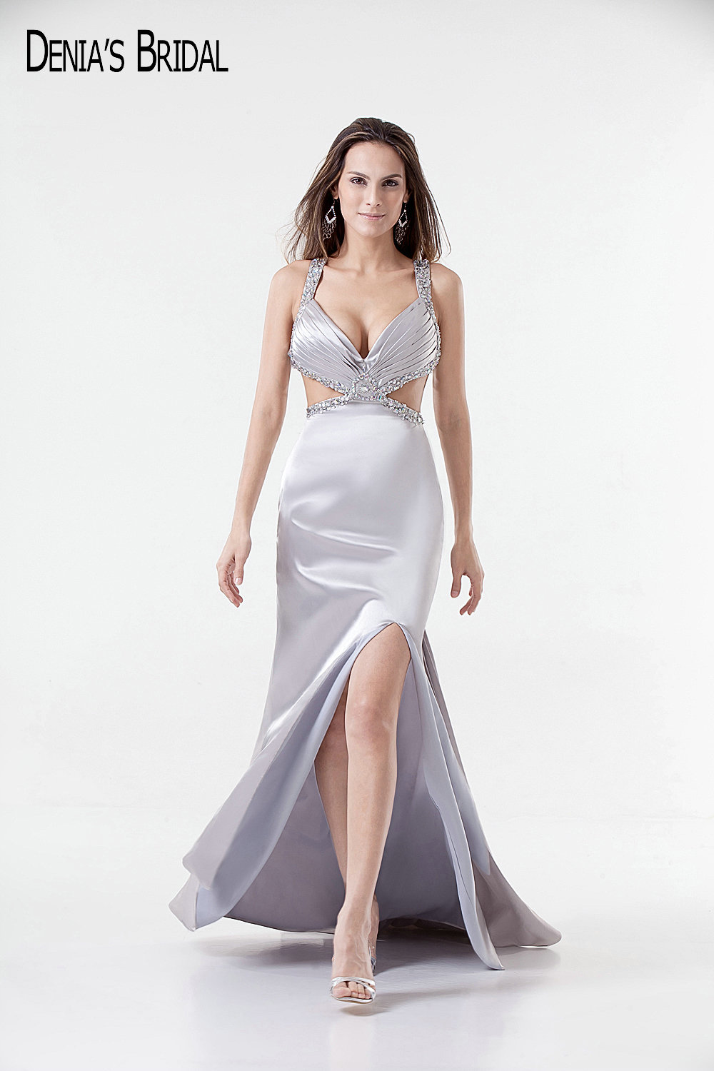 2017 Actual Images Mermaid Evening Dresses with Sweetheart Neckline Cut Waist Front Split Floor-Length Beaded Sliver Prom Gowns