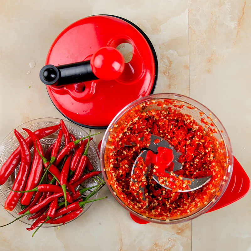500ml-1.5L Kapasitas Tinggi Multi-Fungsi Dapur Manual Food Processor Daging Grinder Sayur Chopper Shredder Cutter Telur Blender