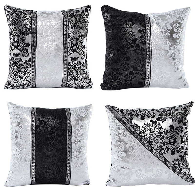 Vintage Cushion Cover Black Sliver Floral Floral Pillow Cover Patchwork Pillow Case for Sofa Bedroom Home Decorative Pillowcase