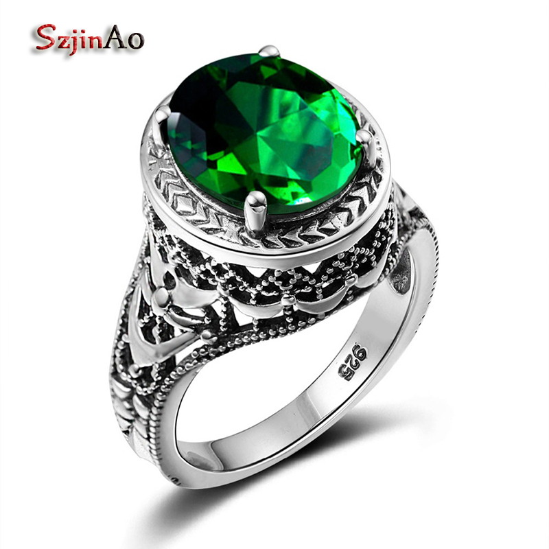 Szjinao 925 Sterling Silver Rings for Women Vintage Style Oval Big Tibetan Emeald Ring Championship Ring Jewelry Gift Boxes