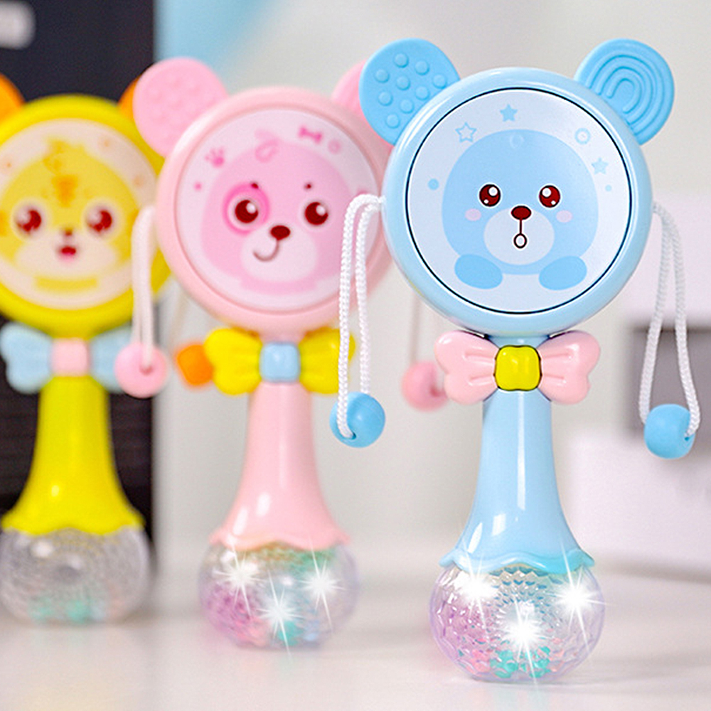 MrY Baby Drum Baby Gift Children's Colorful Glowing Rattle Children's Colorful Flash Toy Baby Drum Baby Educational Toy Dog Shape
