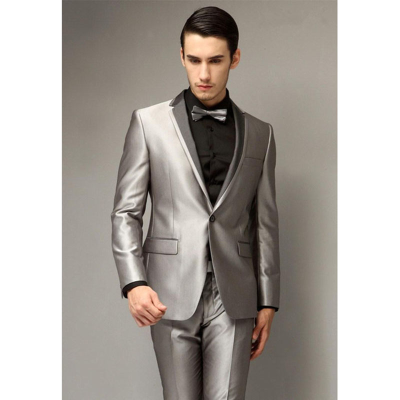 2018 New Single Breasted Silver Grey Wedding Men Suits Tuxedo Best Young Mens Party Wear Blazer Suit Smoking (Jacket+Pants+Bow)