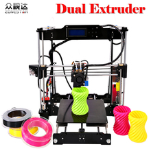 Dual Extruder Double Color Bed Auto Leveling Reprap Prusa i3 3D Printer DIY Kit Gift 2 Rolls Filament SD Card Free Shipping