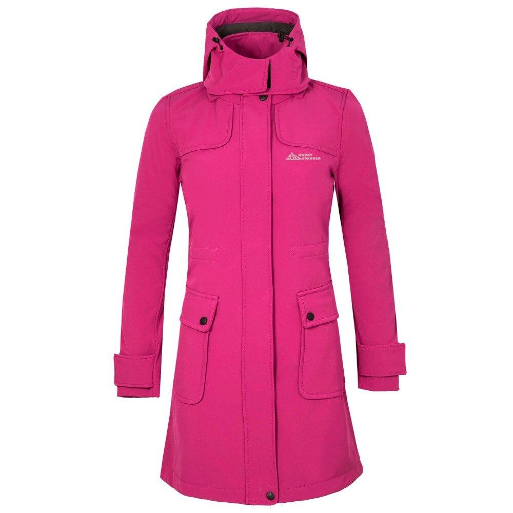 Women Long Hiking Jacket Coat Windproof Waterproof Softshell Fleece Jacket Riding Outdoor Sport Wear Female Autumn Clothing Coat