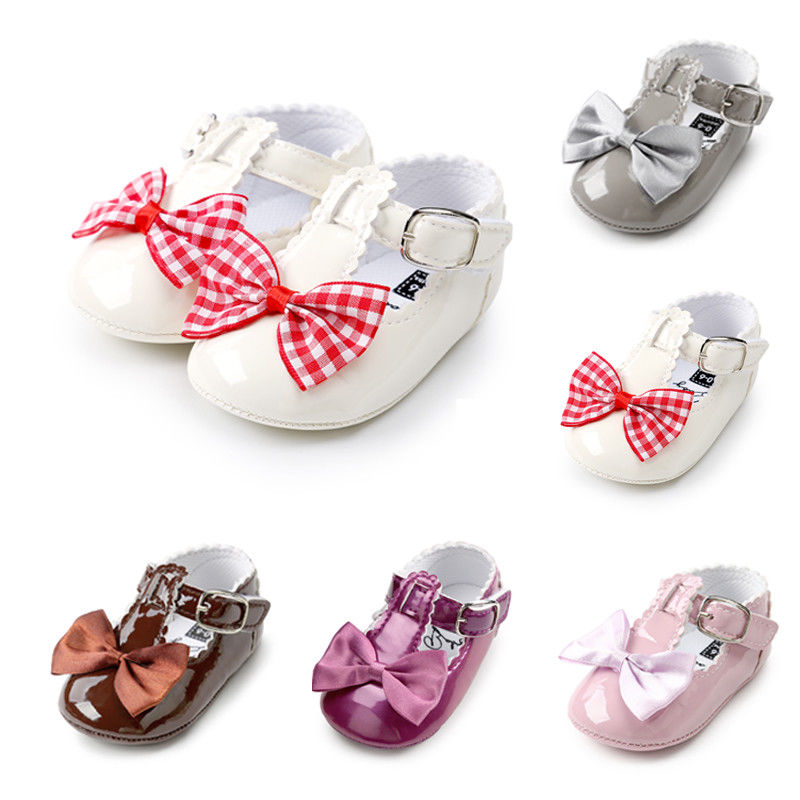 0-18Months Baby Girls Christening Baptism Party Shoes Kids First Walker Princess Baby Girl Bow Shoes