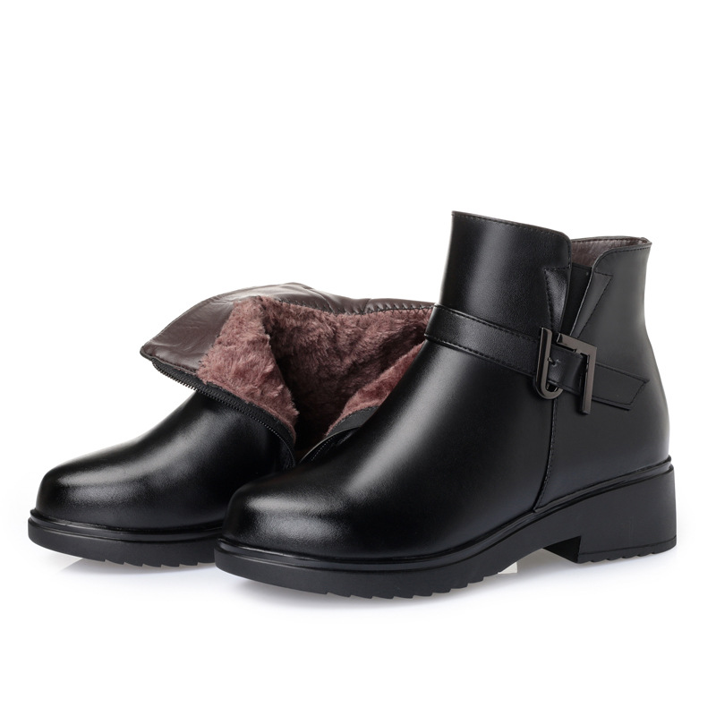 Hiver Véritable Wool Chaussures 100 Black Plush black Neige Plus Taille Confort À Bottes Cuir Nouvelle Femmes L'intérieur Naturel En Inside La Peluche Chaud laine Pleine ttASHwq