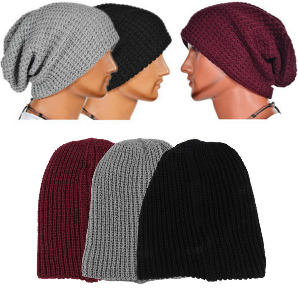 9fe6d62ad7b Casual Chic Men s Loose Beanie Black Hat Caps New Winter Women Men s ...