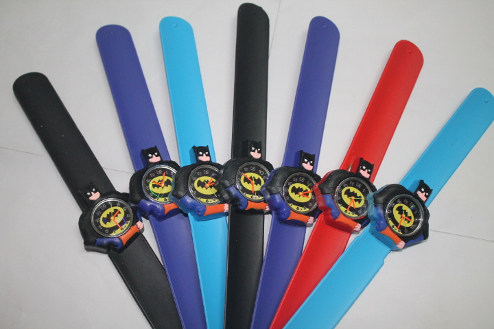 DHL Free Shipping 100pcs/lot Wholesales Hot Sales 3D Cartoon Batman Slap Watch Cute Boys Quartz Silicone Clap Wristwatch