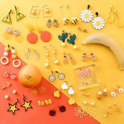 Женские летние оранжевые ананас Подсолнечник фрукты висячие серьги леди сладкий ювелирные аксессуары LXH