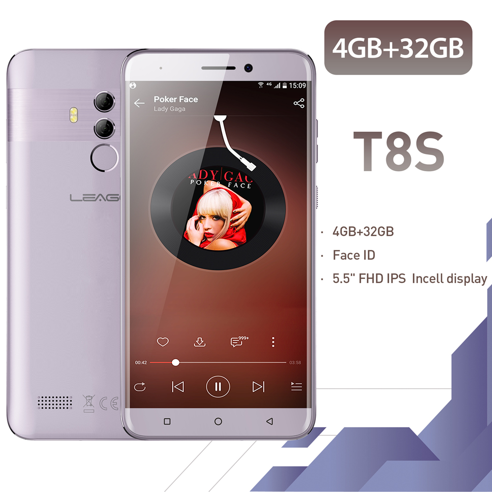 LEAGOO T8s Face ID Smartphone 5.5''FHD Incell RAM 4GB ROM 32GB Android 8.1 MT6750T Octa Core 3080mAh Dual Cams 4G Mobile Phone image