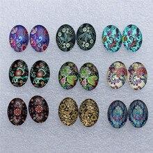 13x18 мм овальные разных цветов Ретро Цветы стеклянные кабошоны с плоской задней поверхностью фото купол самодельные Украшения, Аксессуары пар 18 шт./лот K06039