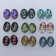 13x18mm oval flores retrô misturadas, cabochões, foto reta, domo, joias, acessórios diy por pares 18 pçs/lote k06039
