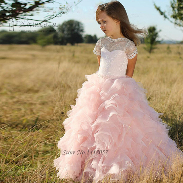 faa137dcb187f Pink Lace First Communion Dresses for Girls Ruffles Spring Pretty Flower  Girls Dresses Pageant Dress for Girls Evening Gowns-in Flower Girl Dresses  ...