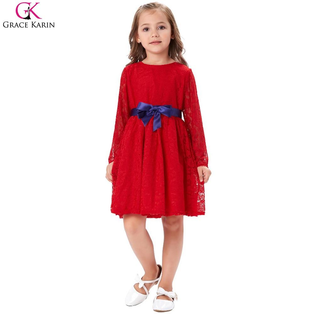 Grace karin rote blume mädchen kleider partei erstkommunion pageant ...