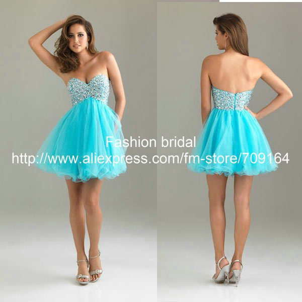 beaded strapless blue short dress