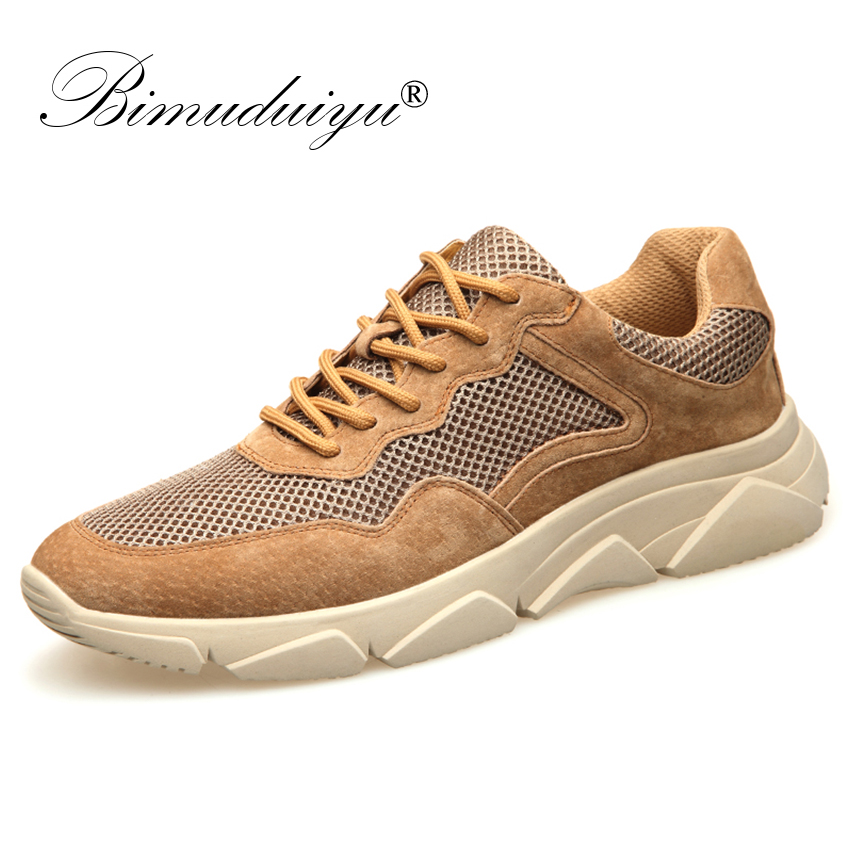 BIMUDUIYU Spring Summer Quality Pig Suede Mesh Casual Sneakers Men Shoes Male Walking Brand Comfortable Non