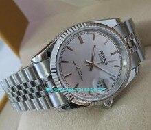 Relógio masculino de cristal de safira, moda japonesa de 36mm, 21 joias, movimento automático, vento, luminoso, novo, 2017 5bar 10a