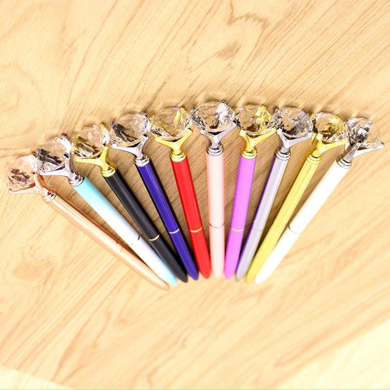 Kawaii gran quilate diamante cristal pluma anillo de metal rueda piedras preciosas bolígrafo moda escuela oficina escolar suministros escolares