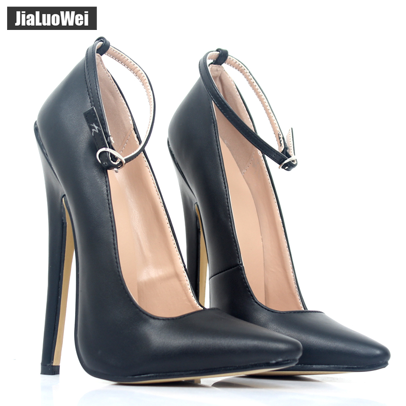 "jialuowei Women 7"" Super High Thin Heel Pumps Ankle Straps Pointed Toe Sexy Fetish Shoes For Ladies zapatos de mujer-in Women's Pumps from Shoes    1"