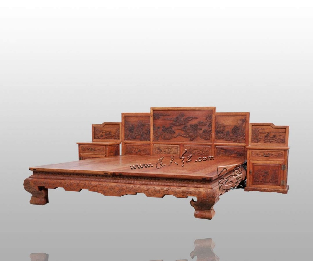 Lengthening and Widen King full Bed Frames 2m classic vintage bedroom furniture Burma Rosewood Double bedstead with side cabinet
