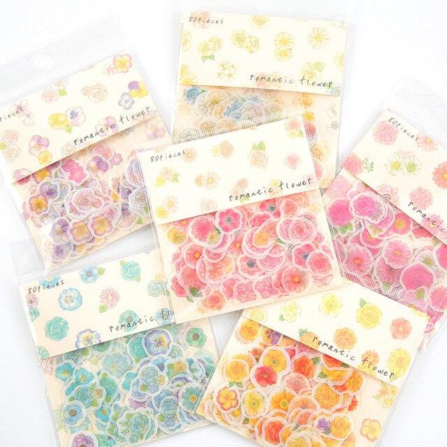 Pegatinas de flores frescas japonesas DIY pegatinas de papelería decorativas bala diario Scrapbooking DIY álbum de diario