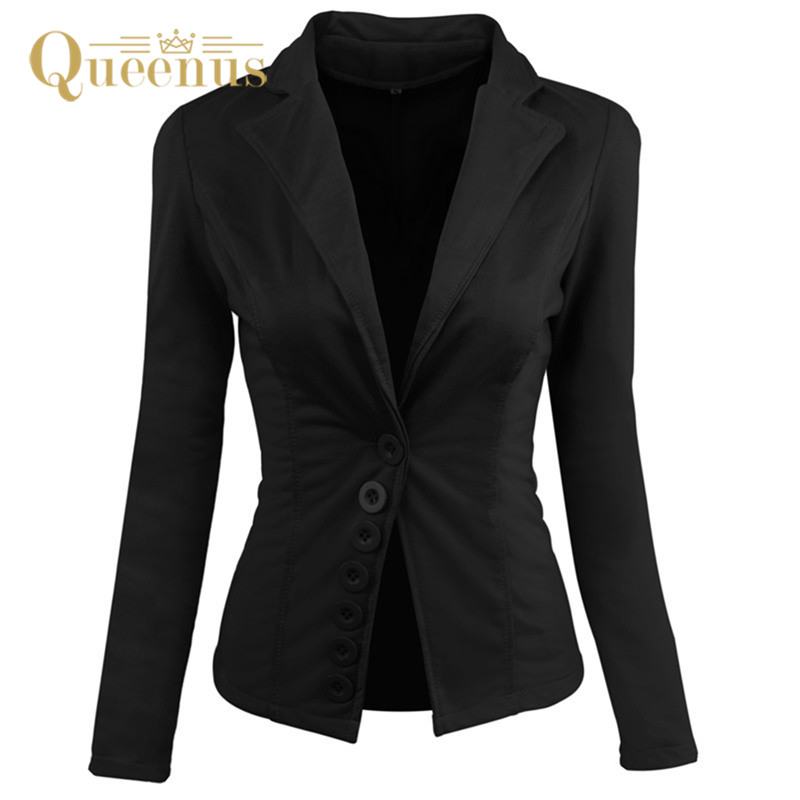 autumn blazers women black long sleeve Blazers Solid Coat formal Work Office Lady Suit f ...