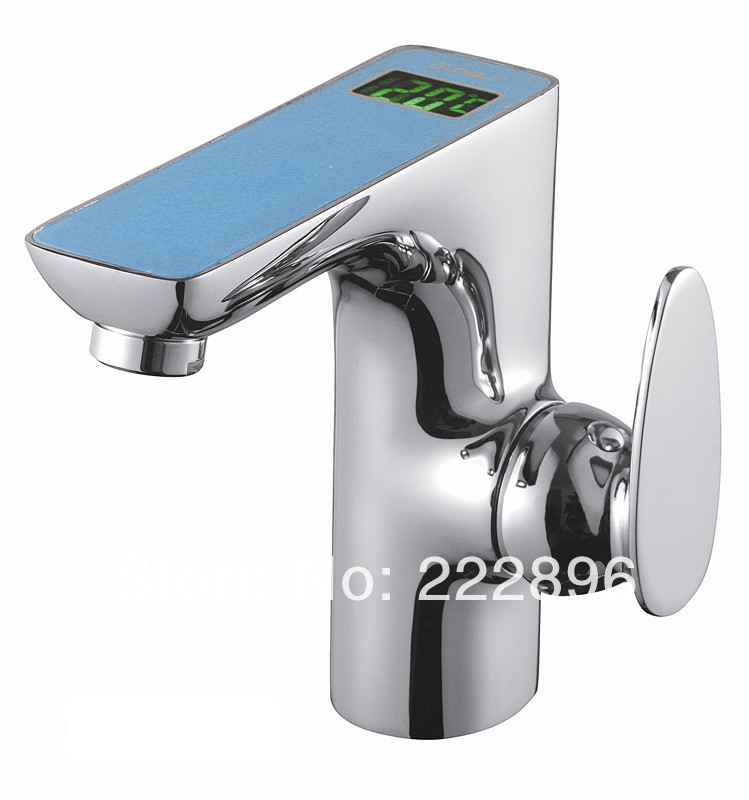 Copper Sink LED Temperature Controlled Faucet Handle Bathroom Basin ...