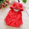 Minnie Mouse Otoño Gruesos Abrigos de Invierno Ropa de Los Niños del Bebé de la Muchacha Del Arco Lindo Niños de la Chaqueta prendas de Vestir Exteriores Capucha roupas de bebe