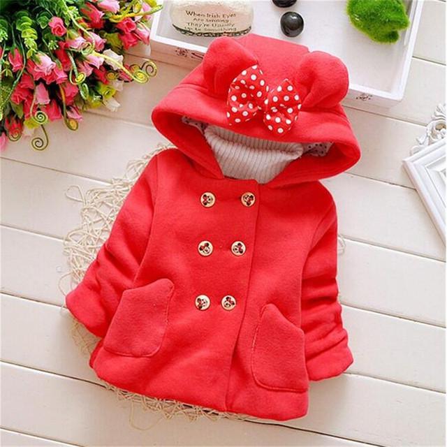 Minnie Mouse Roupas Outono Inverno das Crianças Do Bebê da Menina Casacos Grossos Arco Bonito Crianças Outerwear Jaqueta Com Capuz roupas de bebe