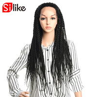 Senegalese silike 24 بوصة طويلة تطور الدانتيل الباروكات 350 جرام المتوسط الاصطناعية الأفرو تجديل للنساء 1 قطعة حجم