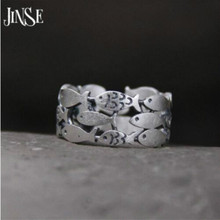 JINSE live 999 sterling silver ring guard your fish jewelry couple gift 9.40mm