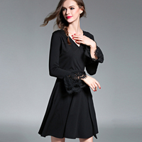 Europe And America High Quality Fashion Temperament Lace Patchwork Women Dress V Neck Long Sleeve Dresses