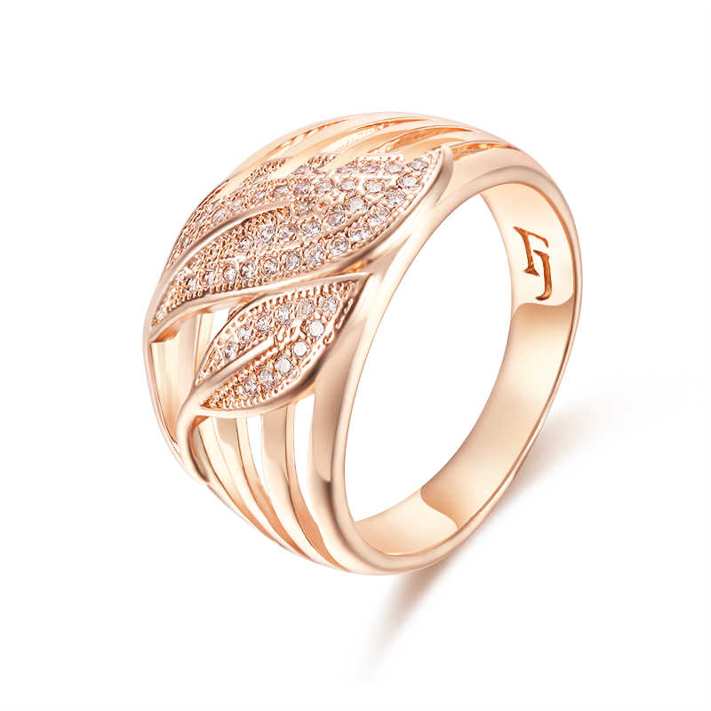 FJ Women 13mm Exaggeration Rings 585 Rose Gold Color Wedding Leaf Crystal Round Rings