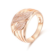 FJ Women 13mm Exaggeration Rings 585 Rose Gold Color Wedding Leaf Crystal Round Rings(China)