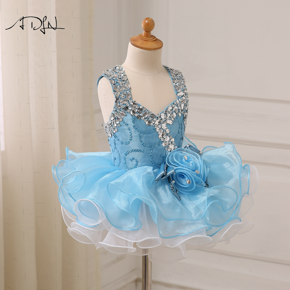 Flower Girl Dresses Helpful Adln Sky Blue First Communion Dresses With Beads Mini Baby Cupcake Dress Princess Pageant Dresses For Girls Glitz Weddings & Events