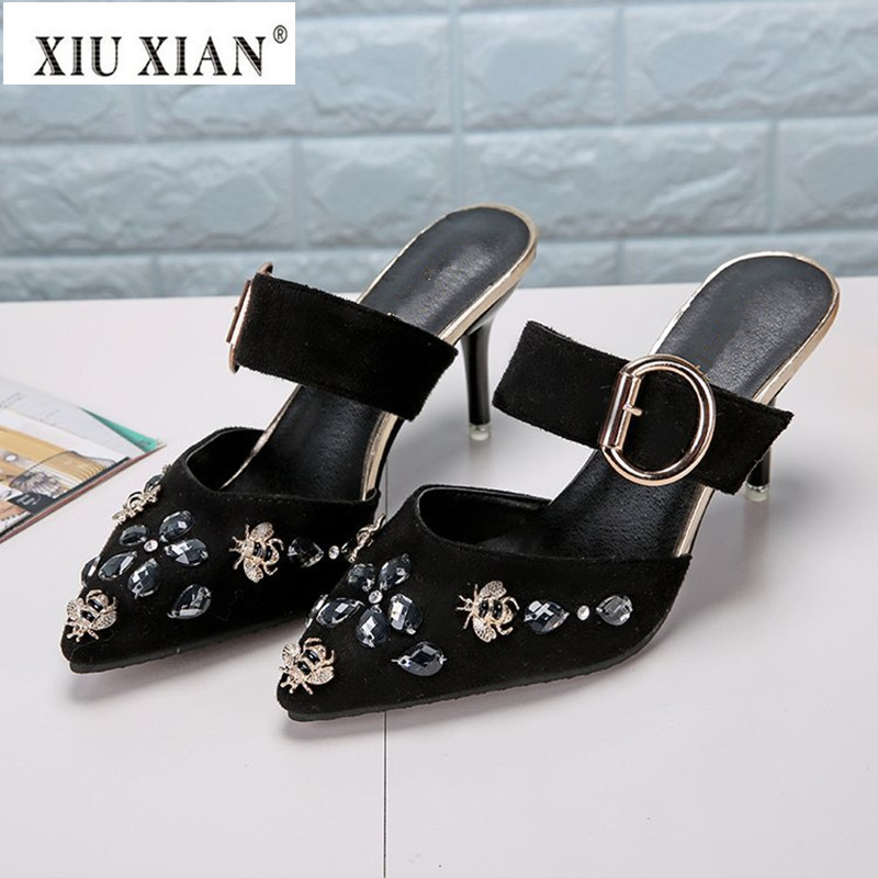 2018 New Luxury Crystal Bee Women Slippers Thin High Heel Slip on Cover Pointed Toe Spring Summer Shoes Fashion Lady Casual Shoe xiaying smile summer women sandals casual fashion lady square heel slip on flock shoes pointed toe cover heel lace bowtie shoes page 1