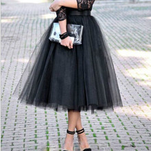 Качественные слои Модная юбка из тюля Плиссированные юбки TUTU Женская Лолита Мелкое пальто Подружка невесты миди Черная юбка Saias Faldas 5XL