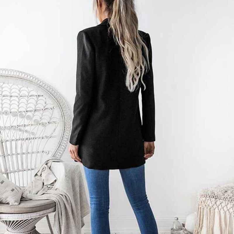 秋のハイストリートヨーロッパとアメリカのファッション女性のブレザーやジャケットノッチ黒スリムカーディガンシンプルなスーツ F4