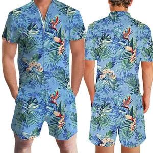 Image 5 - 2020 Hawaiian Tiger & Flamingo Print 3D Rompertjes Mannen Jumpsuit Speelpakje Harem Cargo Overalls Zomer Casual Rits Strand Mannen sets